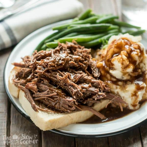Slow Cooker Hot Roast Beef Sandwiches
