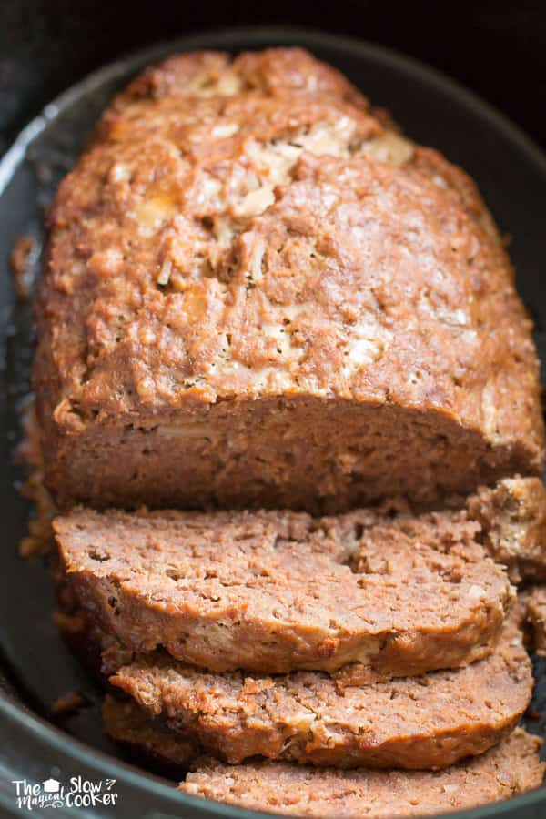 Cooked onion meatloaf in slow cooker.