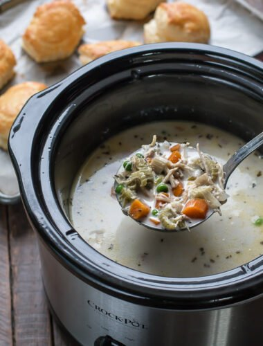 Ladle of chicken pot pie soup, scooping from crock pot.