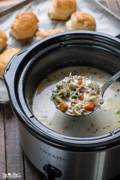 Slow Cooker Chicken Pot Pie Soup { Freezer Meal Friendly}