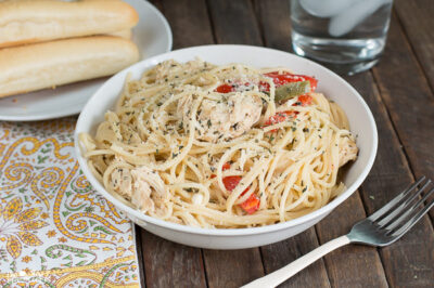 Slow Cooker Italian Chicken Spaghetti