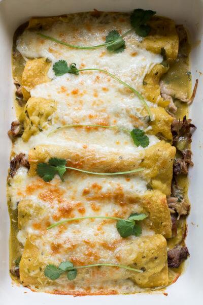 Pork Verde Enchiladas {slow cooker pork}