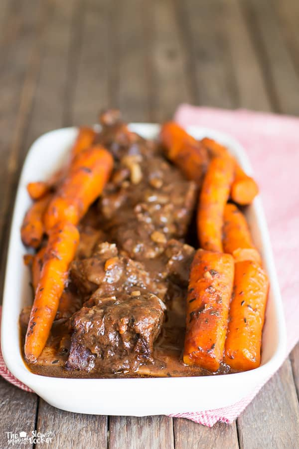 Platter of short ribs with carrots