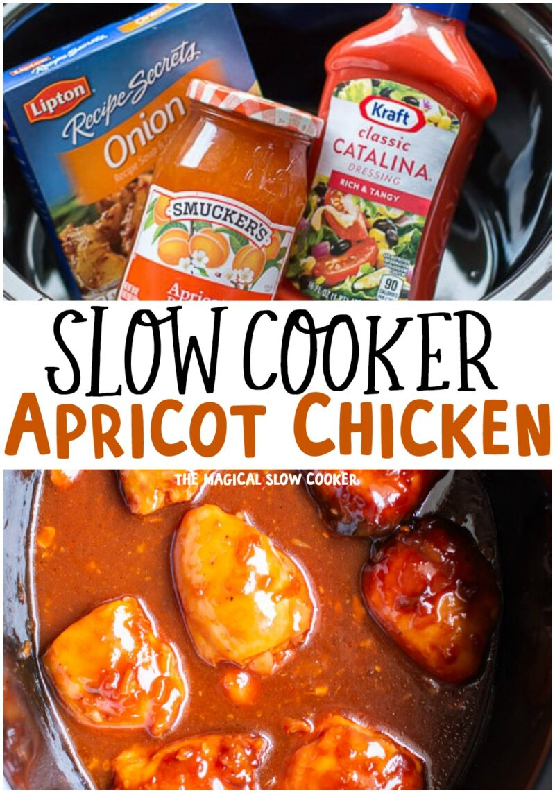 collage of photos of apricot chicken for pinterest