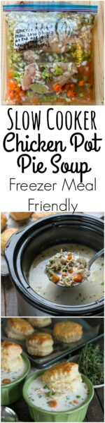Slow Cooker Chicken Pot Pie Soup {Freezer Meal Friendly}