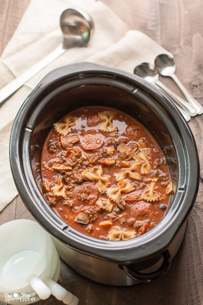 Slow Cooker Pizza and Pasta Soup