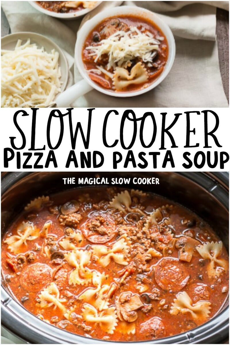 collage of pizza and pasta soup for pinterest