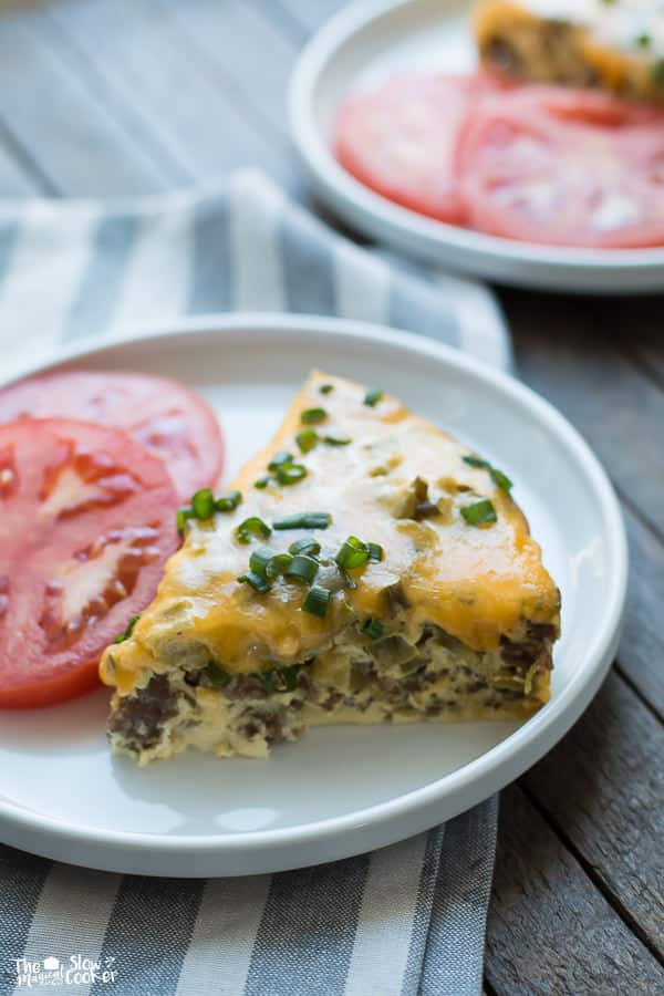 Slow Cooker Sausage and Green Chile Breakfast Casserole