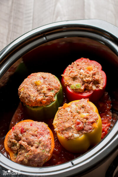 Slow Cooker Taco Meat Loaf Stuffed Peppers
