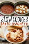 collage of photos of baked spaghetti for pinterest