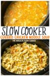 collage of curried chicken noodle soup for pinterest