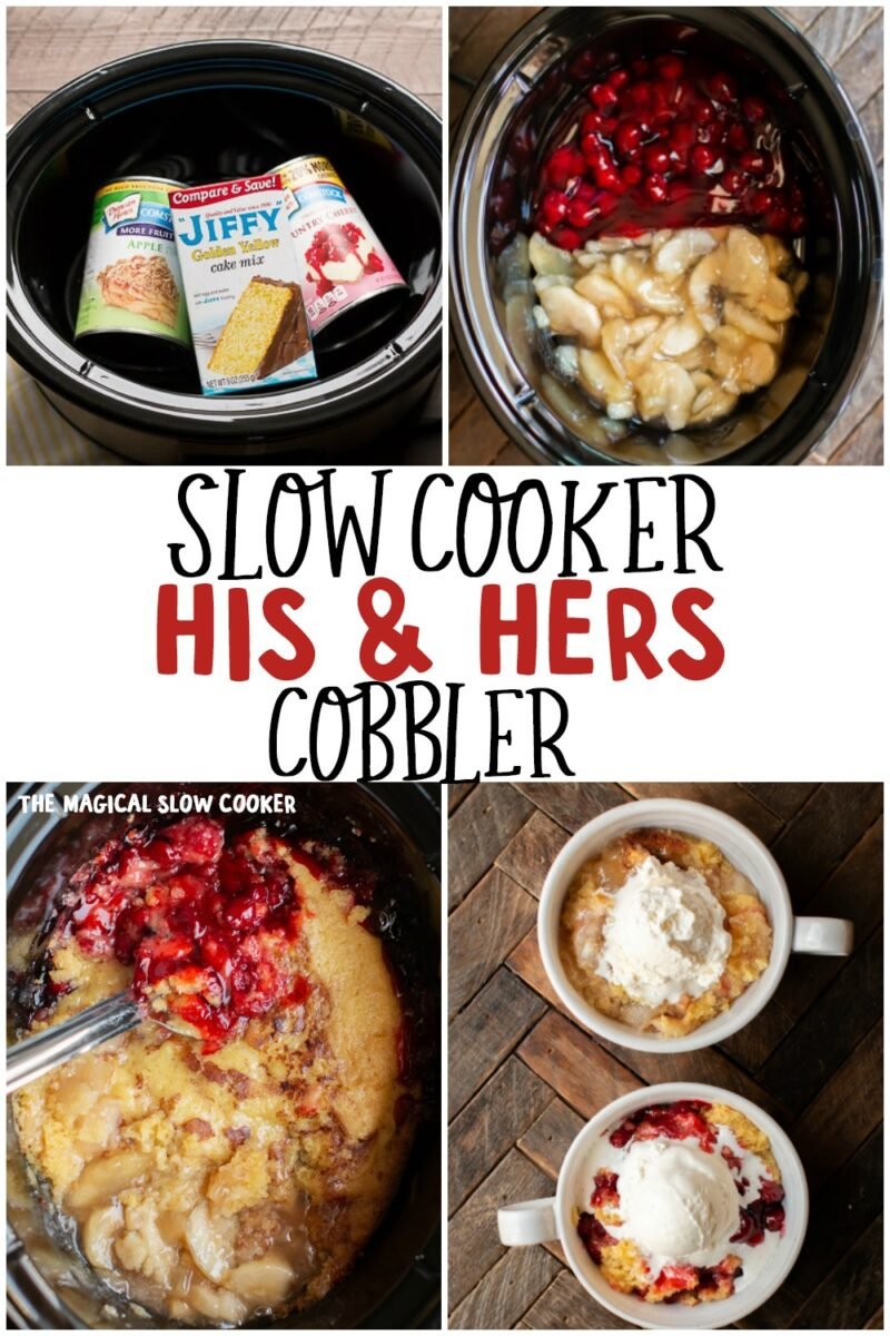 collage of photos for his and hers cobbler for pinterst.