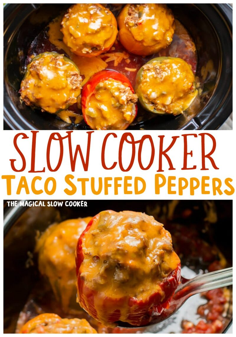 collage of stuffed pepper images with text overlay for pinterest
