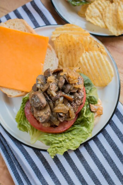 Slow Cooker Mushroom and Onion Burger Topper