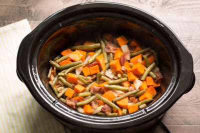 Sweet Potatoes, Green Beans and Bacon