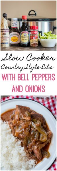 Slow Cooker Country Style Ribs with Bell Peppers and Onions