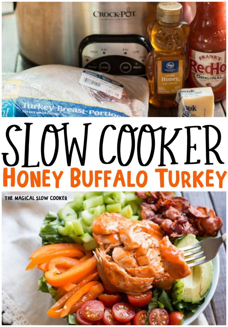 collage of photos for honey buffalo turkey for pinterest