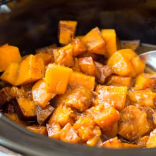 cooked spiced butternut squash in the slow cooker.