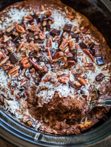 close up of german chocolate spoon cake.