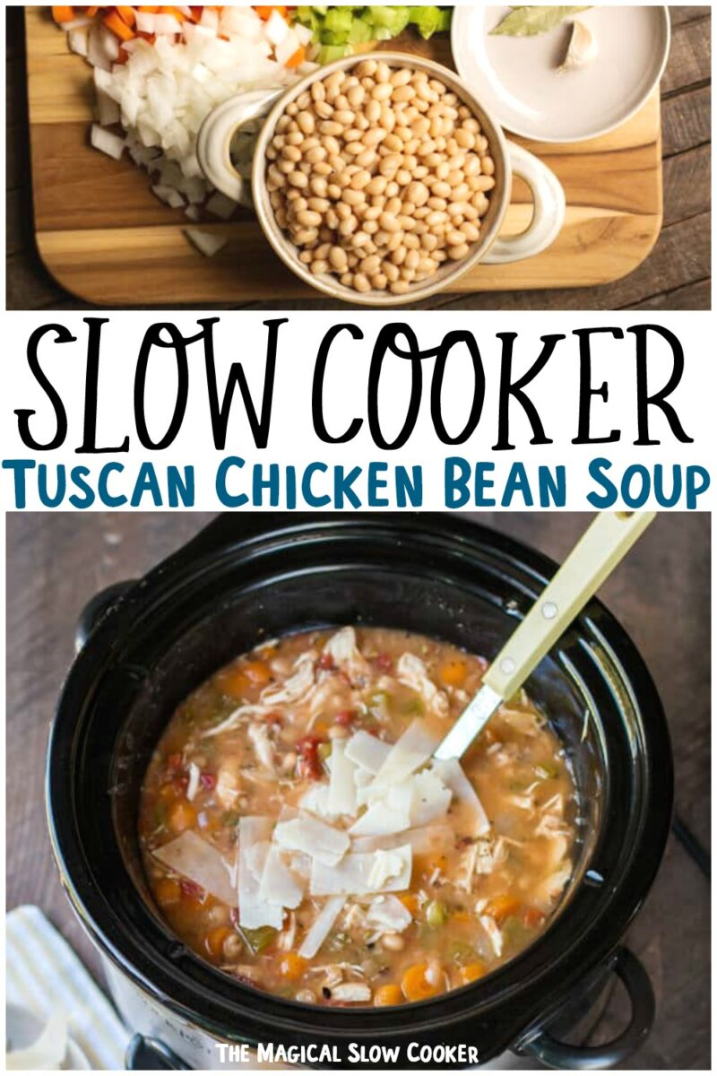 collage of tuscan beans soup for pinterest
