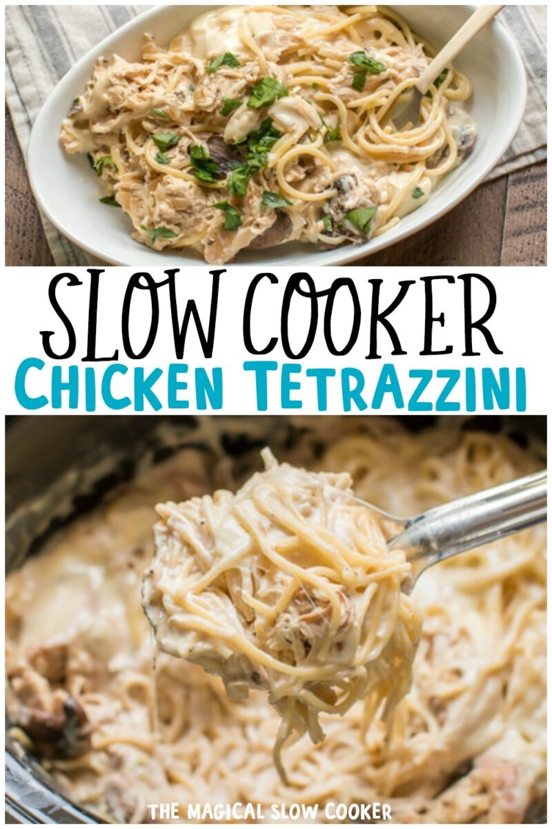 collage of tetrazzini images with text overlay for pinterest