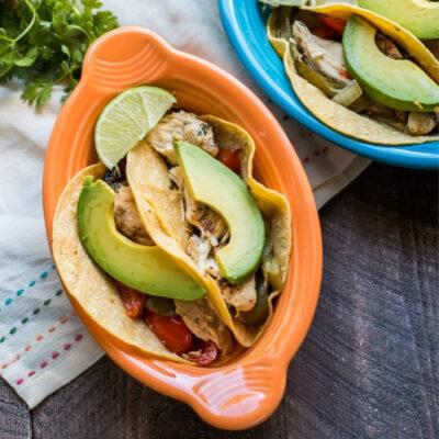 chicken fajita tacos in bowls