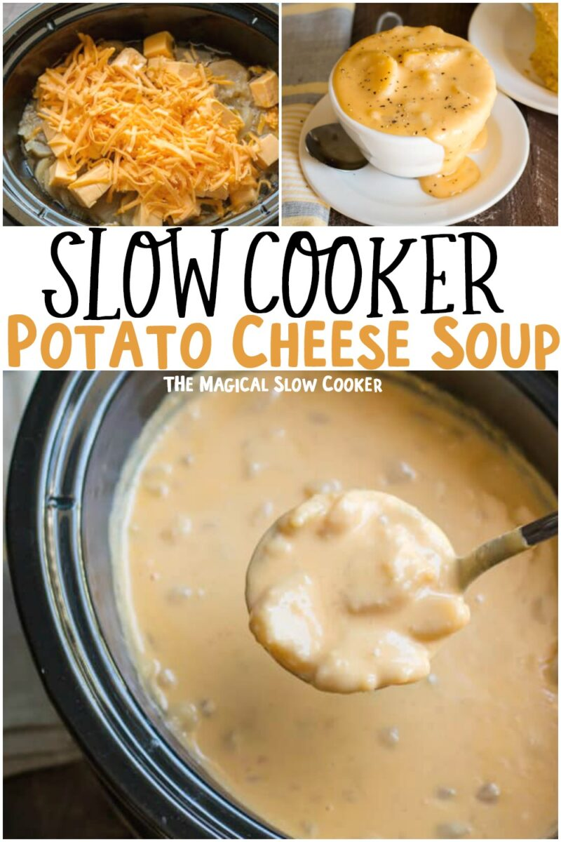 collage of potato cheese soup for pinterest