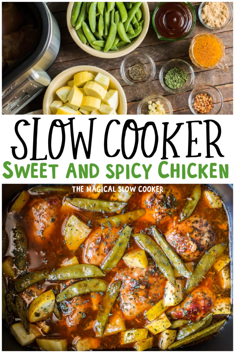 collage of sweet and spicy chicken images with text overlay for pinterest