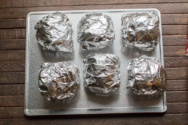 wrapped pork sandwiches in foil