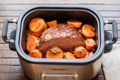 Slow Cooker Ham with Sweet Potatoes and Pineapple