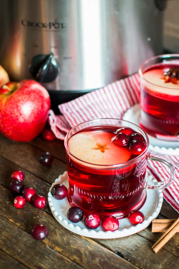 2 mugs of cranberry apple cider