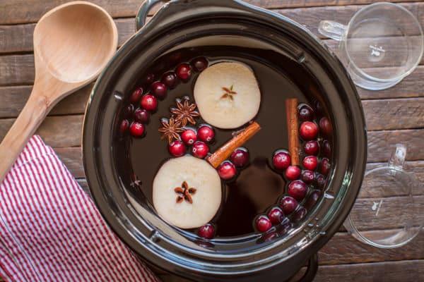 overhead shot of cranberry apple cider.