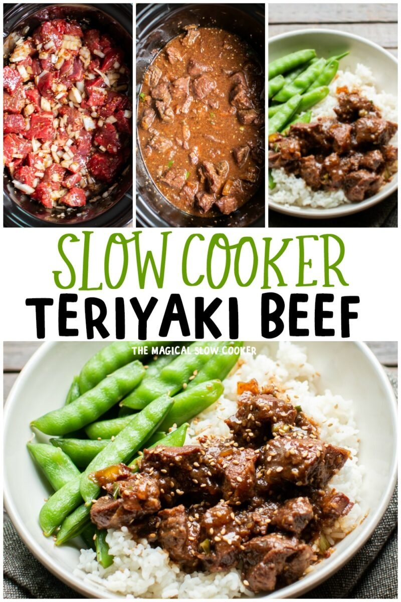 collage of teriyaki beef photos for pinterest