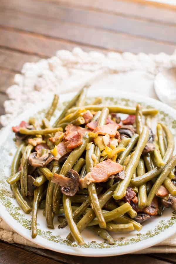 plate full of green beans.