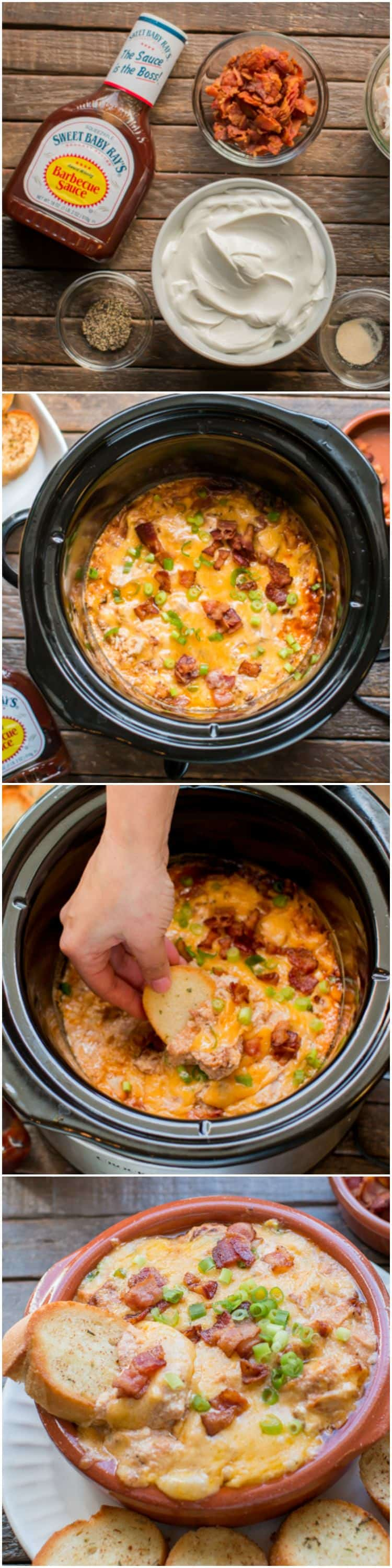 Slow Cooker Bacon Barbecue Chicken Dip