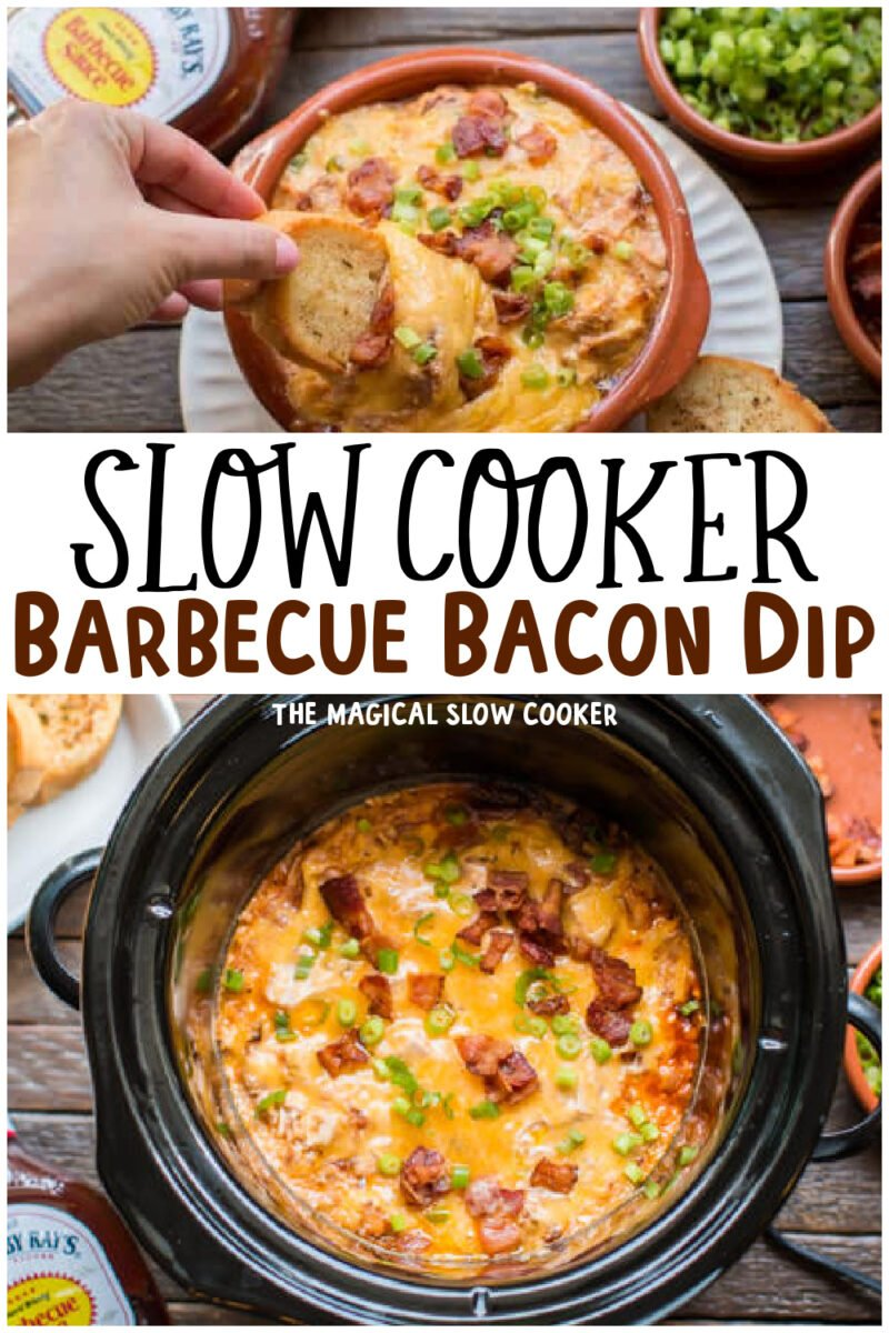 bacon barbecue dip collage with text overlay for pinterest