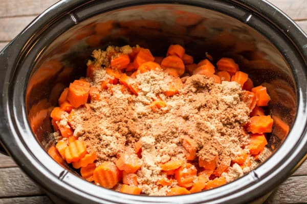 sliced carrots with brown sugar and seasonings on top.