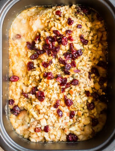 chicken breasts, stuffing and cranberries in a slow cooker.