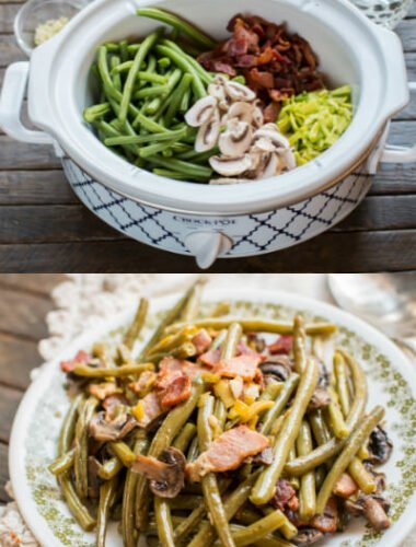 2 photo collage of green beans