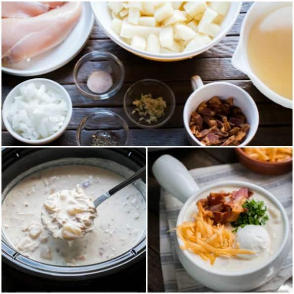 Slow Cooker Loaded Chicken Bacon Potato Soup
