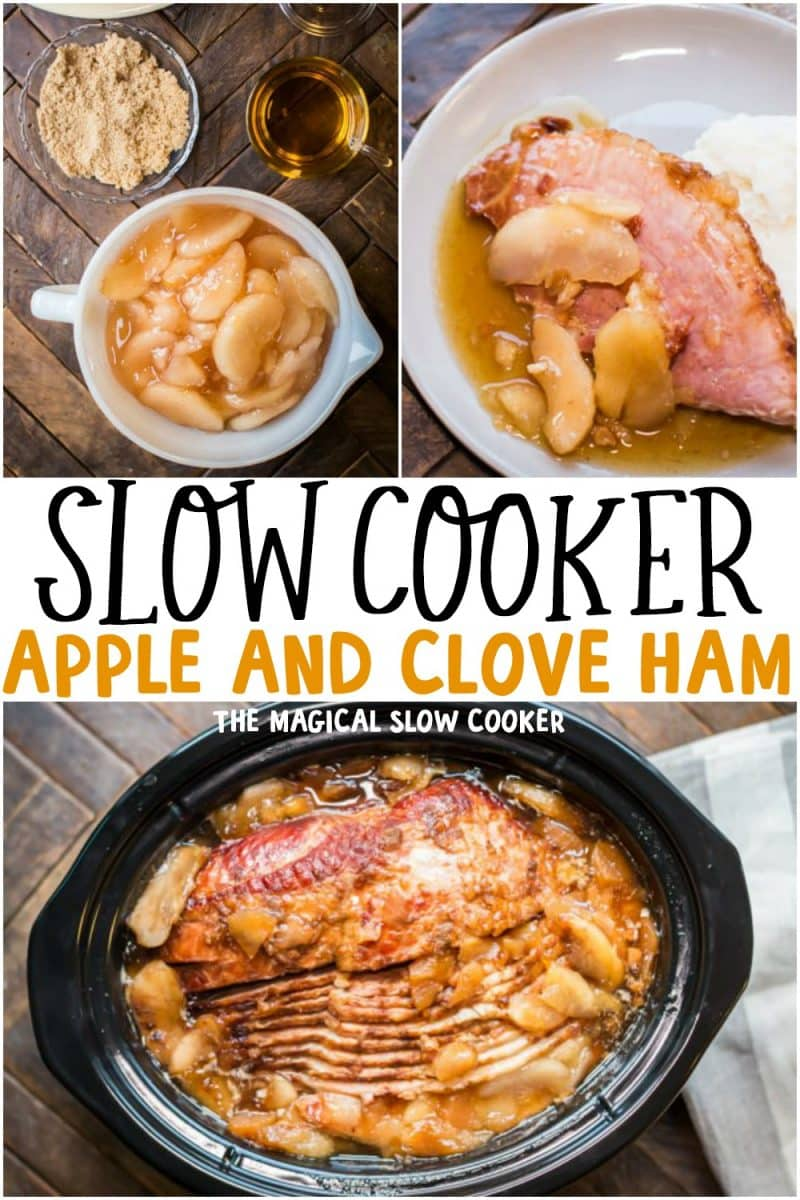collage of apple and clove ham for pinterest