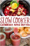 collage of cranberry apple butter images for pinterest