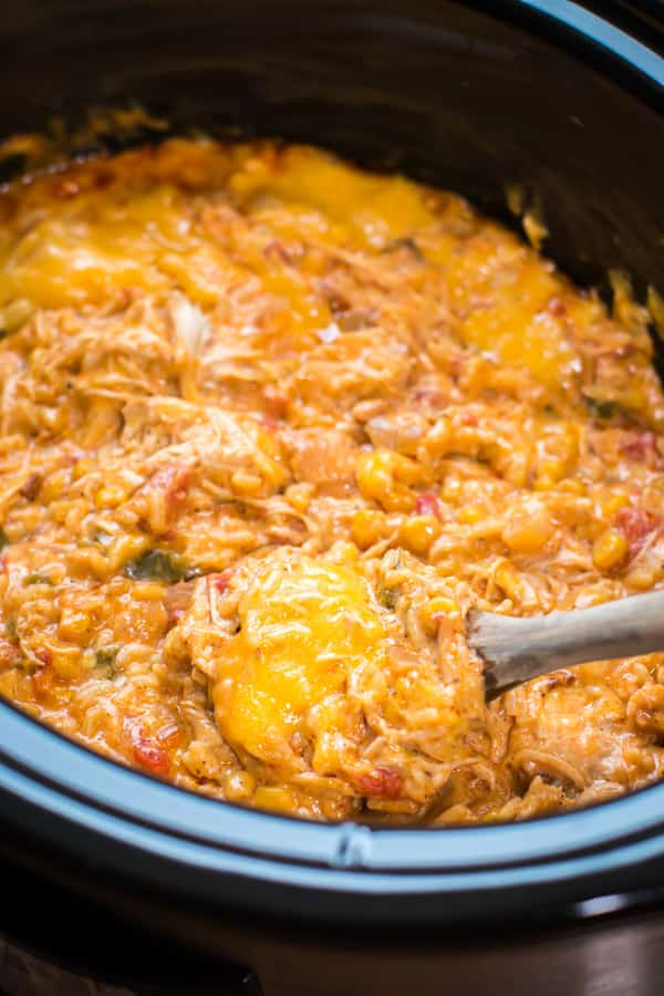 fiesta chicken rice with cheese in a slow cooker.