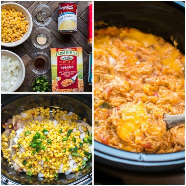 Slow Cooker Fiesta Chicken and Rice Casserole