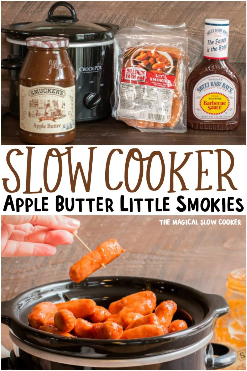 collage of apple butter little smokies for pinterest.