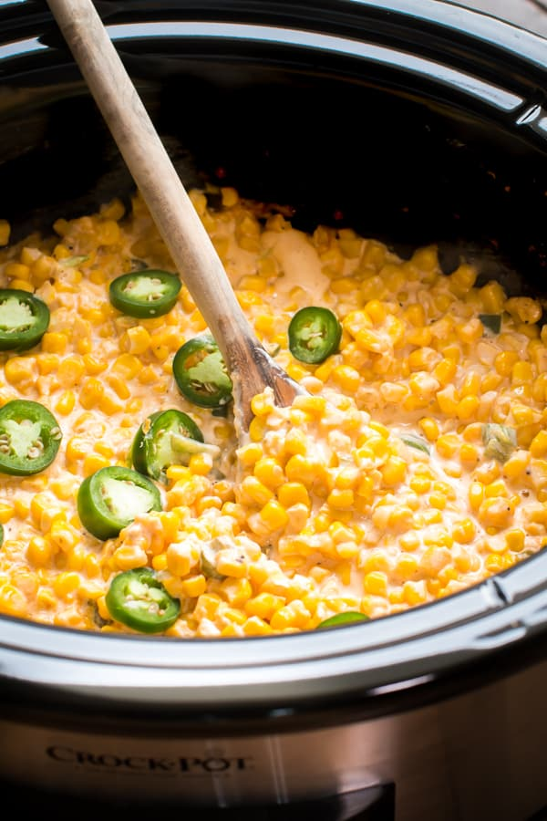 creamy jalapeno corn in a slow cooker.