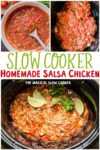 collage of salsa chicken images with text overlay for pinterest