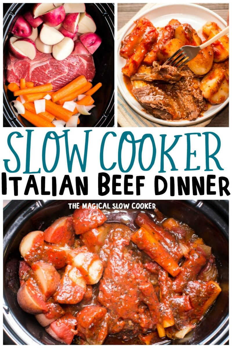 Collage of Italian Beef Dinner images with text overlay for pinterest