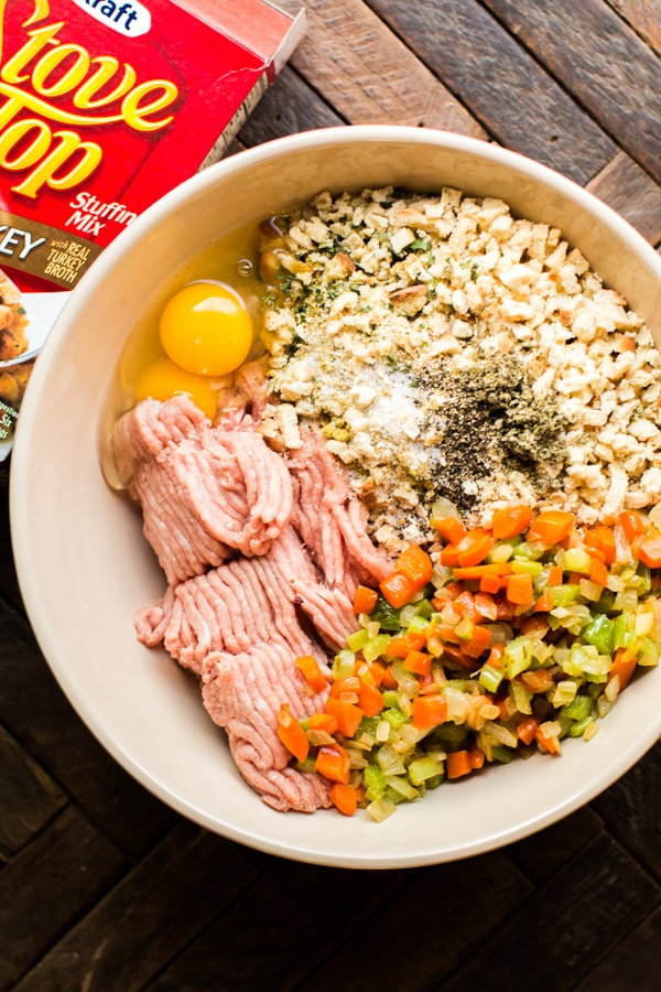 bowl of turkey meatloaf ingredients.