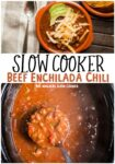 collage of enchilada chili with text overlay for pinterest